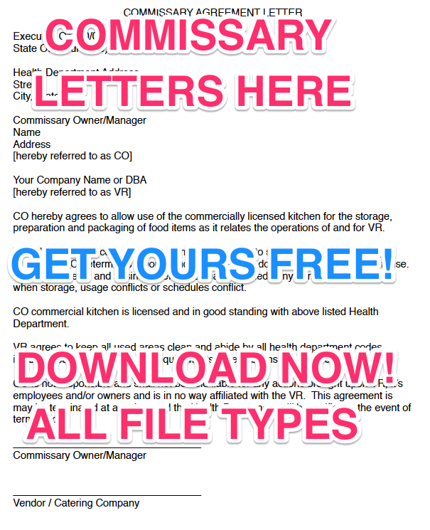 free commissary agreement form letters
