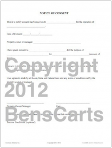 Use this form when entering into agreement to use or set up on private property.
